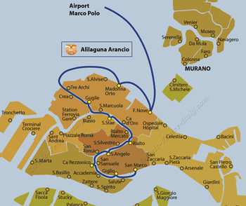 Alilaguna Arancio Water Bus Line Map from Marco Polo Airport to Venice in Italy