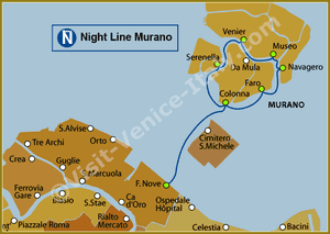 Line Map N Night Murano Vaporetto Water Bus in Venice ACTV