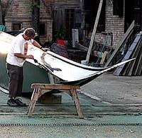 gondola Squero in the sestiere of Dorsoduro Venice Italy