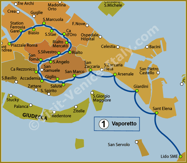Venice Water Bus Vaporetto - Map of Line 1 ACTV