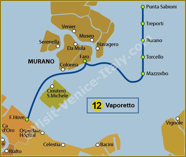 Venice Water Bus Vaporetto - Map of Line 12 ACTV