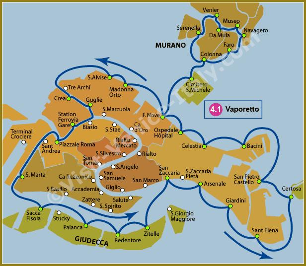 Venice Water Bus Vaporetto - Map of Line 4.1 ACTV
