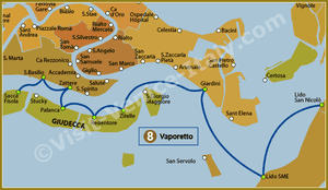 Line Map 8 Vaporetto Water Bus in Venice