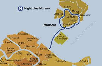 Water Bus Vaporetto Line Map Night Murano in Venice in Italy