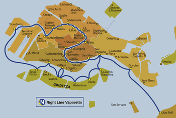 Water Bus Vaporetto Night Line Map in Venice in Italy