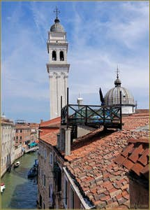 The view on the bridge, the canal and the Greci church's Campanile.