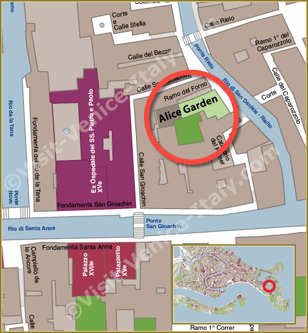 Location Map in Venice of Alice Garden