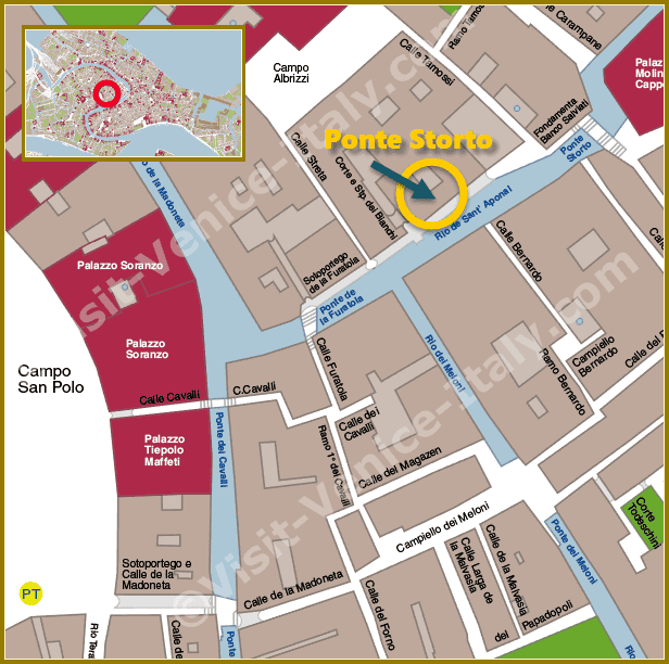 Location Map in Venice of Ponte Storto