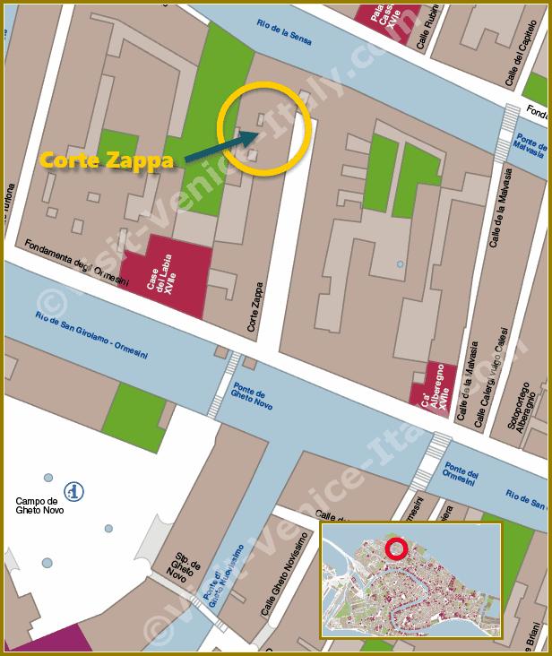 Location Map in Venice of Corte Zappa