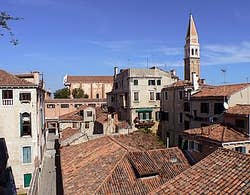Down to the left the Salizada and the church of San Francisco de la Vigna venice italy castello