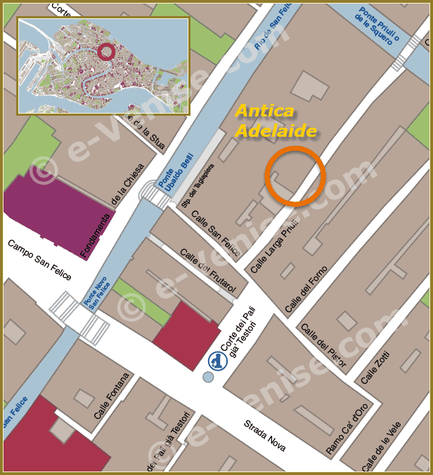 Restaurant Antica Adelaide Location Map in Venice