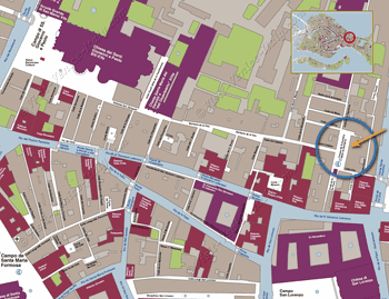Situation Map of the Ostaria Santa Giustina in Venice in Italy