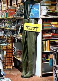 The Acqua Alta bookshop in Venice Italy