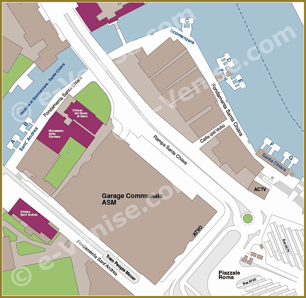 Venice Water Bus Pier map Piazzale Roma ACTV