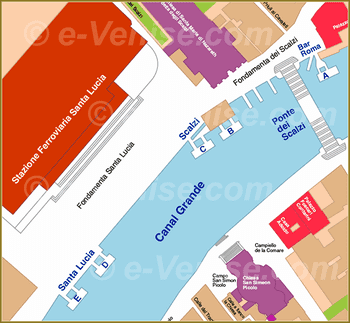 Venice Water Bus Pier map train station Ferrovia Santa Lucia ACTV